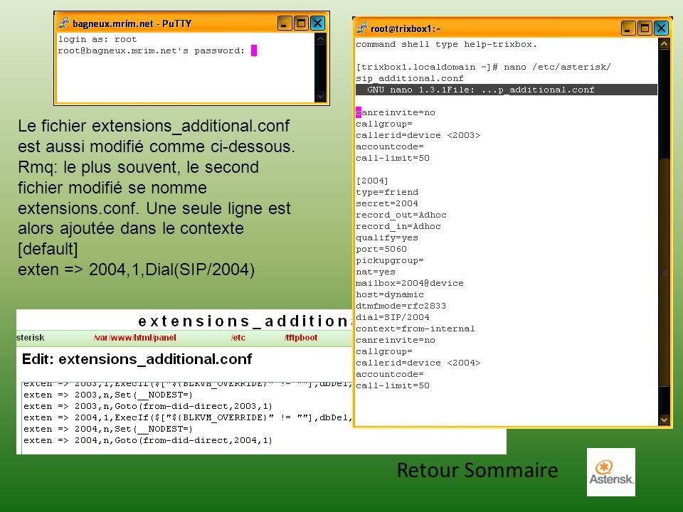Retour Sommaire Le fichier extensions_additional.conf est aussi modifié comme ci-dessous. Rmq: le plus souvent, le second fichier modifié se nomme ext