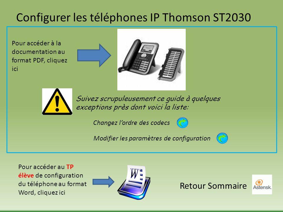Configurer les téléphones IP Thomson ST2030 Pour accéder à la documentation au format PDF, cliquez ici Suivez scrupuleusement ce guide à quelques exceptions près dont voici la liste: Changez lordre des codecs Modifier les paramètres de configuration Retour Sommaire Pour accéder au TP élève de configuration du téléphone au format Word, cliquez ici