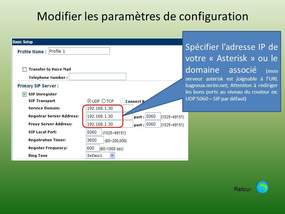 Modifier les paramètres de configuration Spécifier ladresse IP de votre « Asterisk » ou le domaine associé (mon serveur asterisk est joignable à lURL