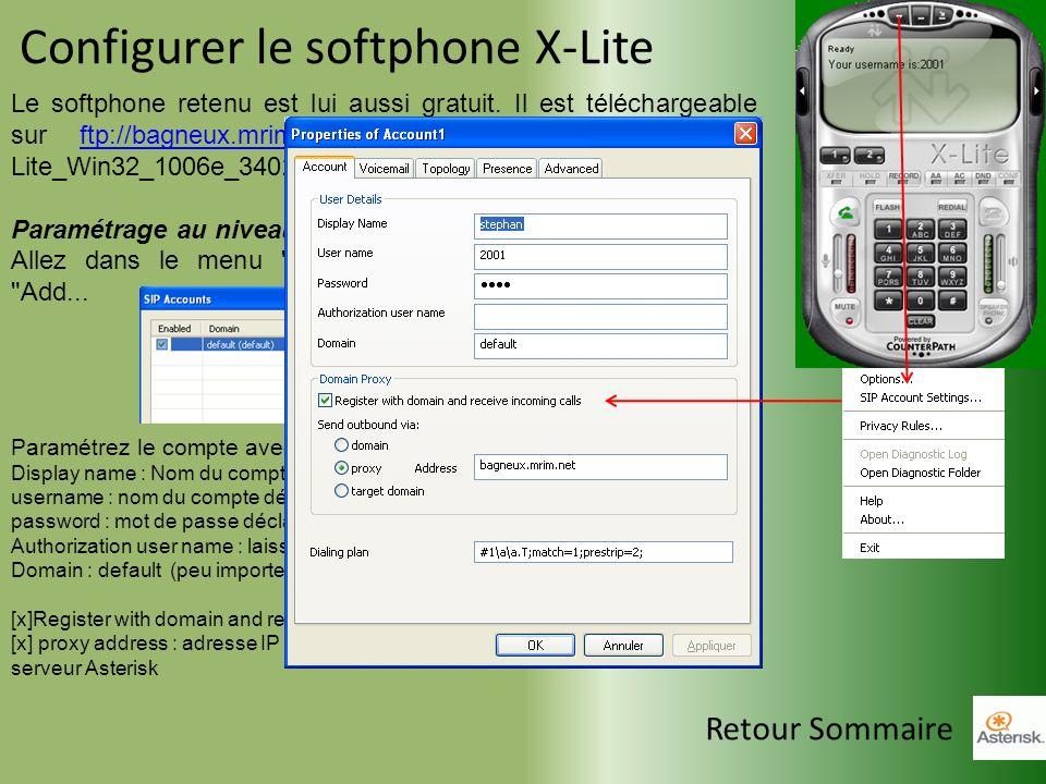 Configurer le softphone X-Lite Le softphone retenu est lui aussi gratuit. Il est téléchargeable sur ftp://bagneux.mrim.net et le fichier s'appelle: