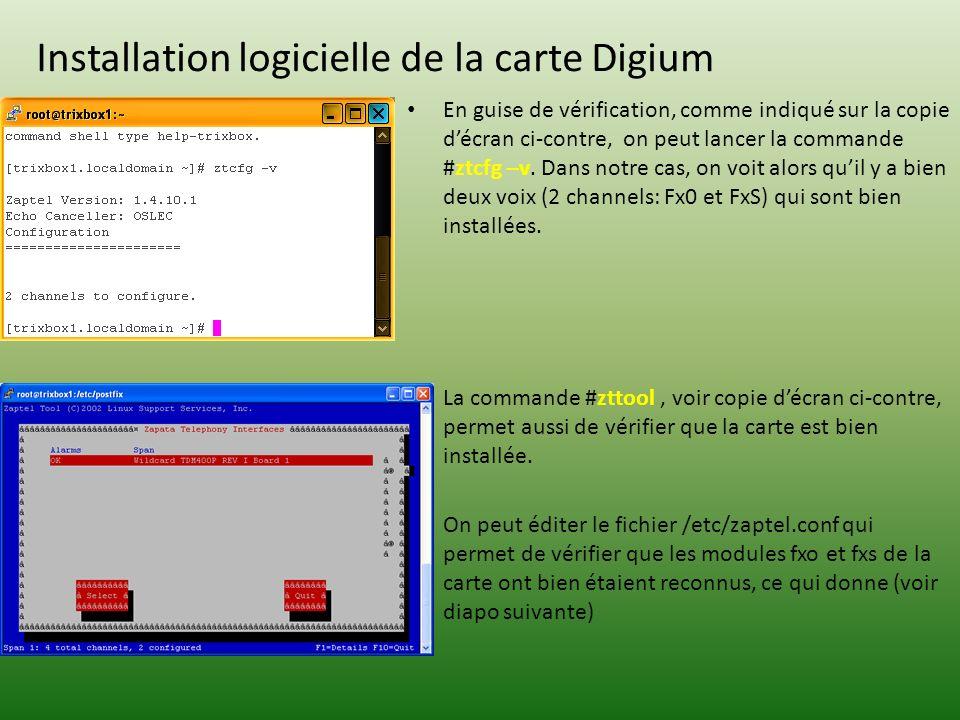 Installation logicielle de la carte Digium En guise de vérification, comme indiqué sur la copie décran ci-contre, on peut lancer la commande #ztcfg –v