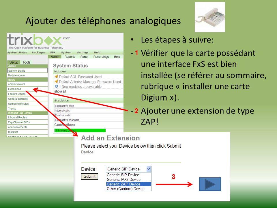 Ajouter des téléphones analogiques Les étapes à suivre: -Vérifier que la carte possédant une interface FxS est bien installée (se référer au sommaire, rubrique « installer une carte Digium »).