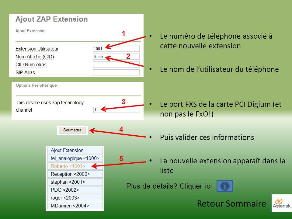 Le numéro de téléphone associé à cette nouvelle extension Le nom de lutilisateur du téléphone Le port FXS de la carte PCI Digium (et non pas le FxO!) Puis valider ces informations La nouvelle extension apparaît dans la liste 1 2 3 4 5 Plus de détails.