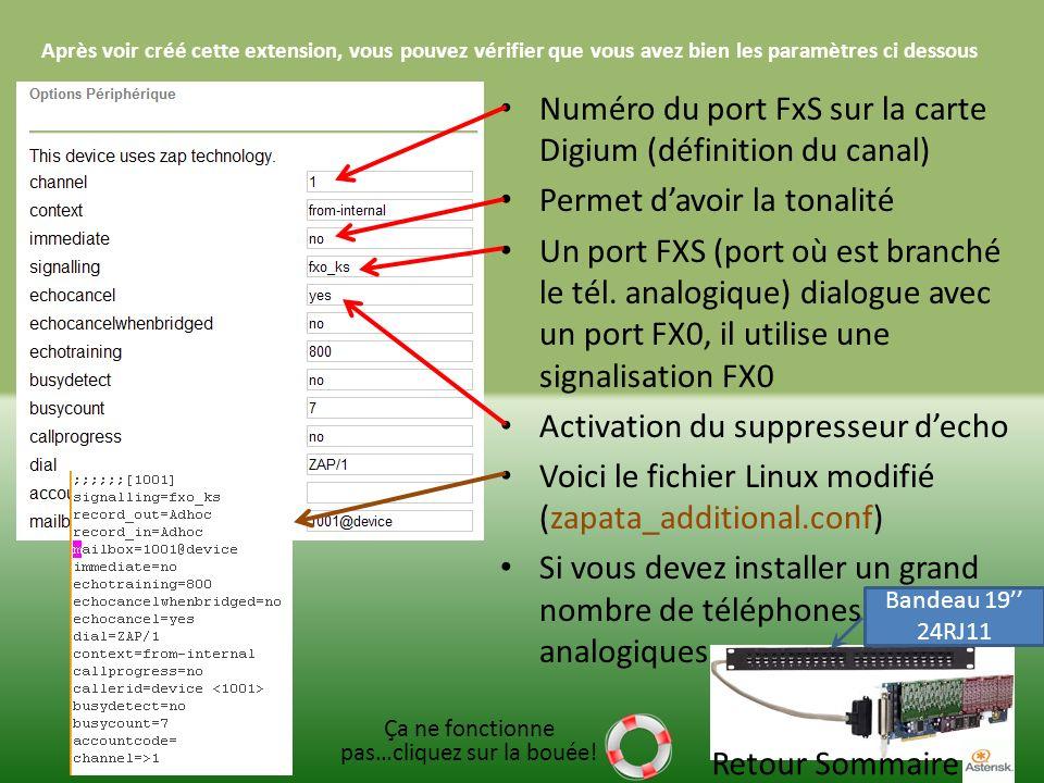 Après voir créé cette extension, vous pouvez vérifier que vous avez bien les paramètres ci dessous Numéro du port FxS sur la carte Digium (définition du canal) Permet davoir la tonalité Un port FXS (port où est branché le tél.