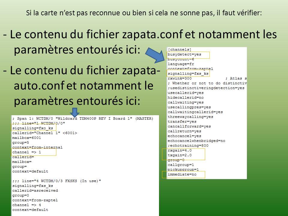 Si la carte nest pas reconnue ou bien si cela ne sonne pas, il faut vérifier: - Le contenu du fichier zapata.conf et notamment les paramètres entourés ici: - Le contenu du fichier zapata- auto.conf et notamment le paramètres entourés ici: