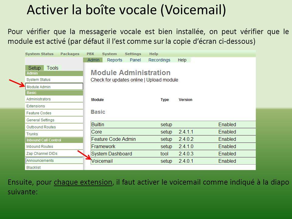 Activer la boîte vocale (Voicemail) Pour vérifier que la messagerie vocale est bien installée, on peut vérifier que le module est activé (par défaut il lest comme sur la copie décran ci-dessous) Ensuite, pour chaque extension, il faut activer le voicemail comme indiqué à la diapo suivante: