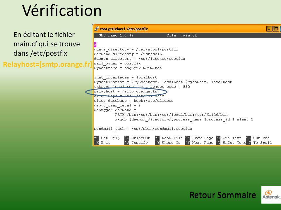 Vérification En éditant le fichier main.cf qui se trouve dans /etc/postfix Relayhost=[smtp.orange.fr] Retour Sommaire