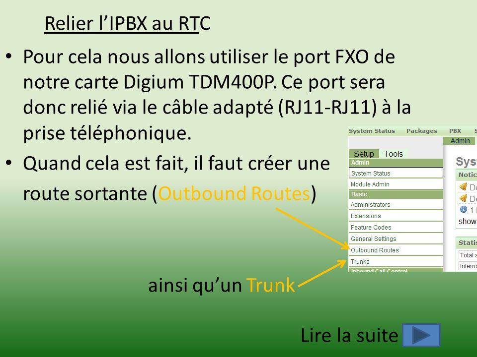 Relier lIPBX au RTC Pour cela nous allons utiliser le port FXO de notre carte Digium TDM400P. Ce port sera donc relié via le câble adapté (RJ11-RJ11)