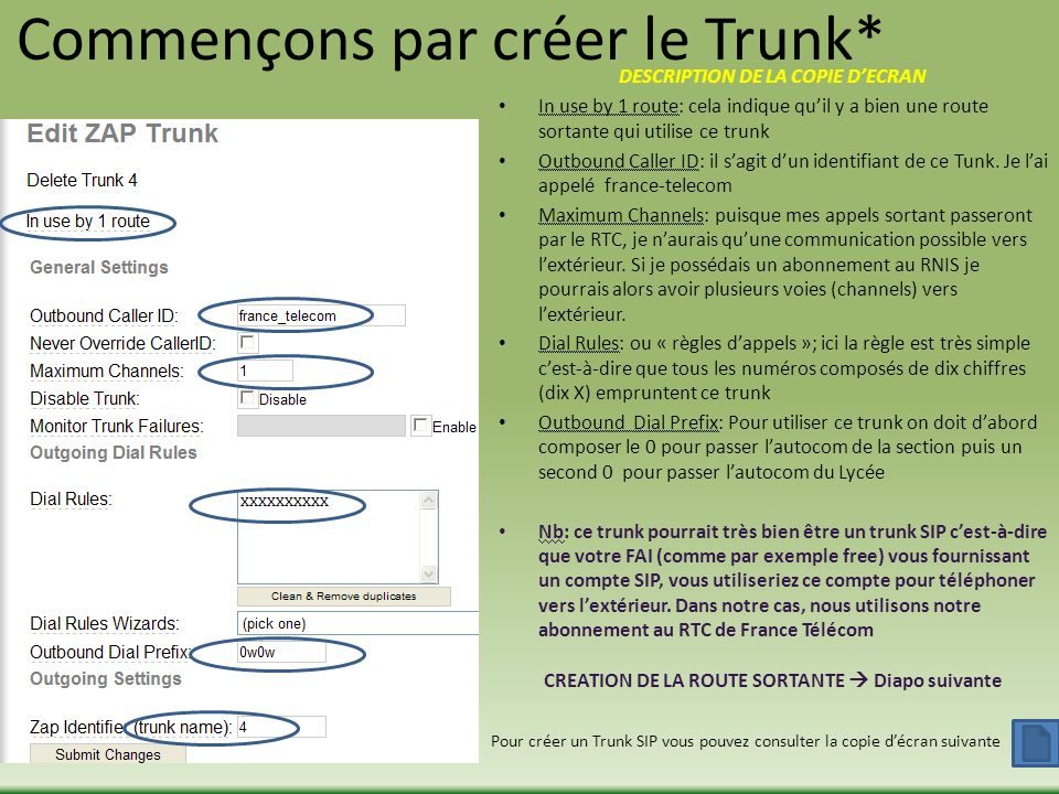 Commençons par créer le Trunk* DESCRIPTION DE LA COPIE DECRAN In use by 1 route: cela indique quil y a bien une route sortante qui utilise ce trunk Ou