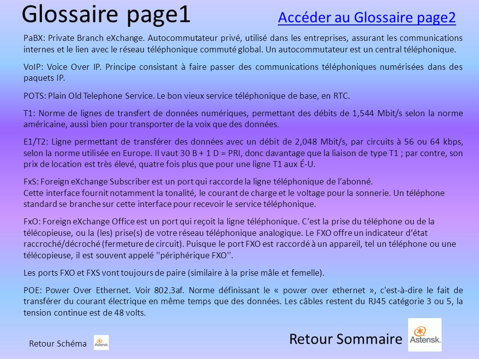 Glossaire page1 Retour Sommaire PaBX: Private Branch eXchange.