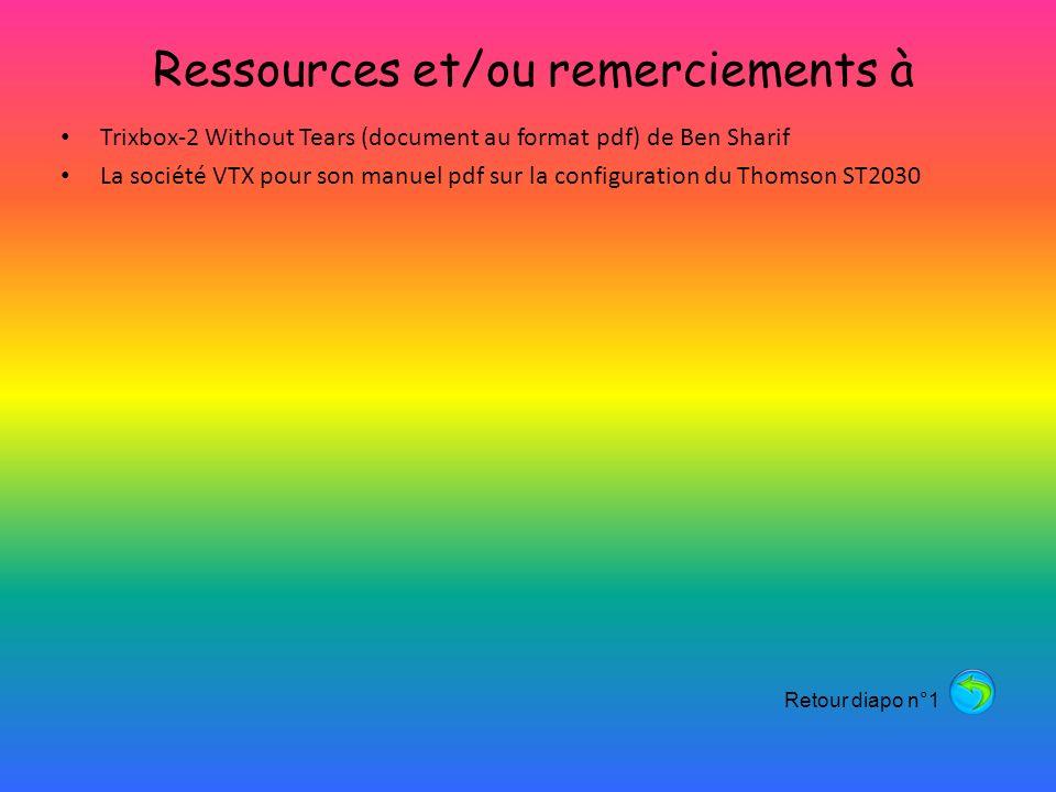 Ressources et/ou remerciements à Trixbox-2 Without Tears (document au format pdf) de Ben Sharif La société VTX pour son manuel pdf sur la configuration du Thomson ST2030 Retour diapo n°1