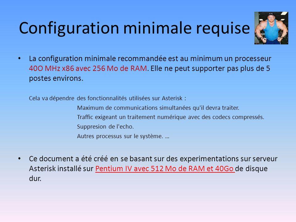 Configuration minimale requise La configuration minimale recommandée est au minimum un processeur 40O MHz x86 avec 256 Mo de RAM.