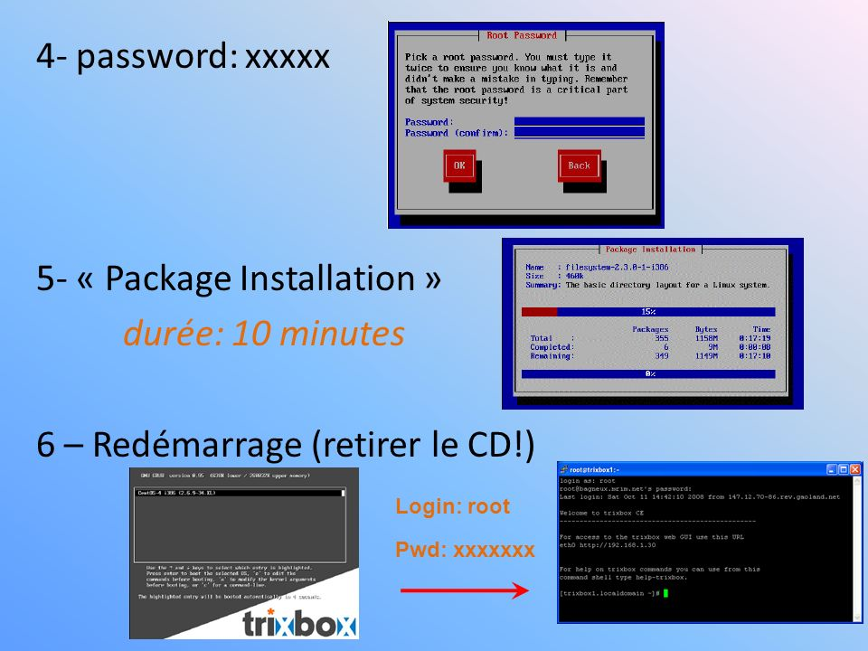 4- password: xxxxx 5- « Package Installation » durée: 10 minutes 6 – Redémarrage (retirer le CD!) Login: root Pwd: xxxxxxx