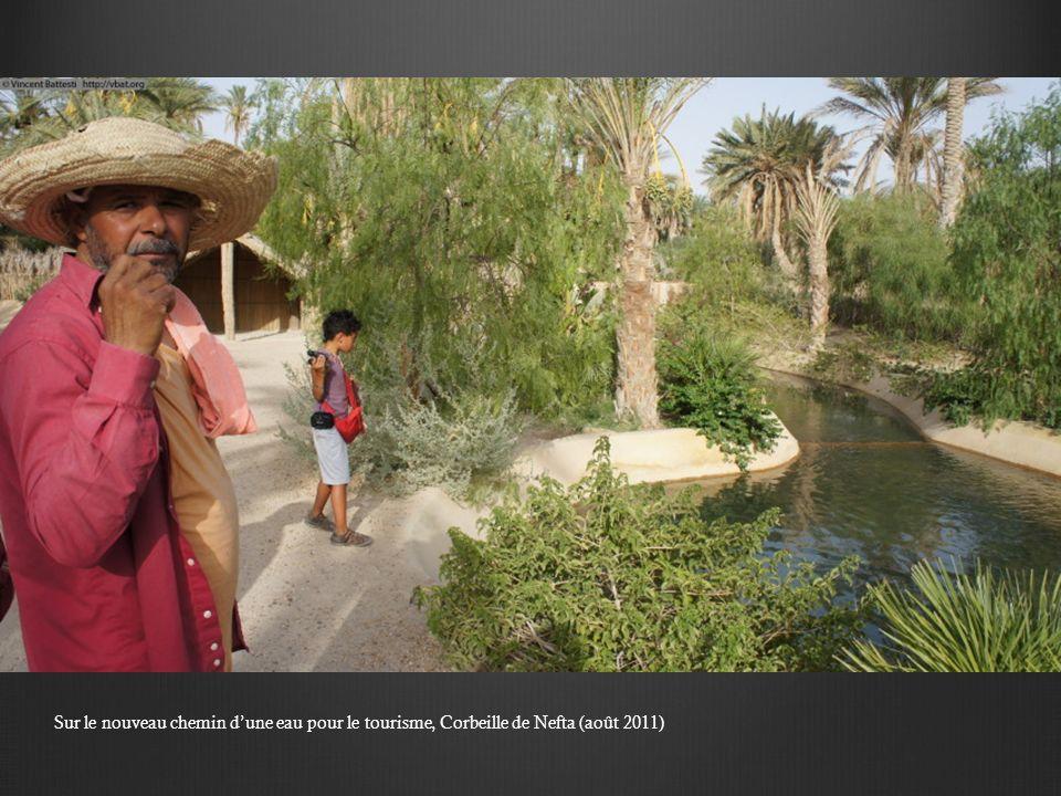 Sur le nouveau chemin dune eau pour le tourisme, Corbeille de Nefta (août 2011)