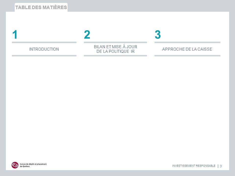 TABLE DES MATIÈRES 3 INVESTISSEMENT RESPONSABLE 123 INTRODUCTION BILAN ET MISE À JOUR DE LA POLITIQUE IR APPROCHE DE LA CAISSE