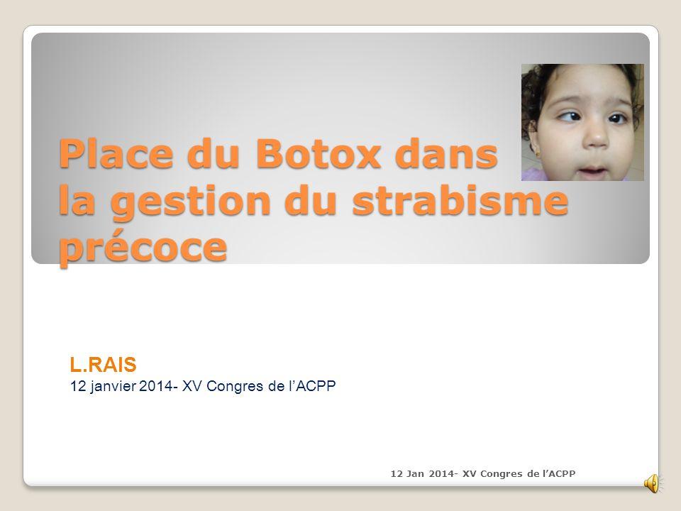 Esotropie J1 post Botox Exotropie + Ptosis J8 post Botox Exotropie + Régression Ptosis 6semaines Botox 12 Jan 2014- XV Congres de lACPP