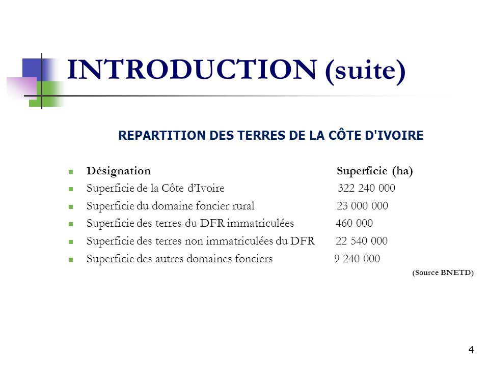 4 INTRODUCTION (suite) REPARTITION DES TERRES DE LA CÔTE D'IVOIRE Désignation Superficie (ha) Superficie de la Côte dIvoire 322 240 000 Superficie du
