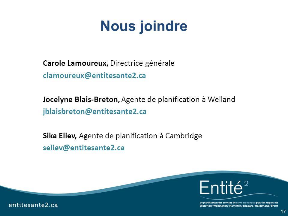 Nous joindre Carole Lamoureux, Directrice générale clamoureux@entitesante2.ca Jocelyne Blais-Breton, Agente de planification à Welland jblaisbreton@entitesante2.ca Sika Eliev, Agente de planification à Cambridge seliev@entitesante2.ca 17