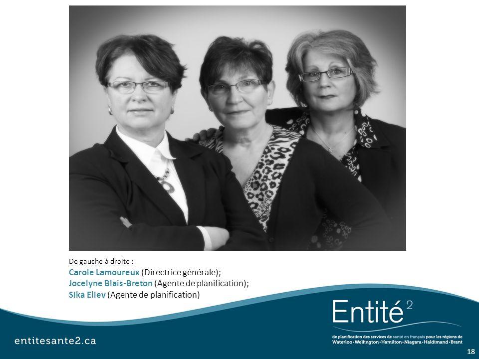 De gauche à droite : Carole Lamoureux (Directrice générale); Jocelyne Blais-Breton (Agente de planification); Sika Eliev (Agente de planification) 18