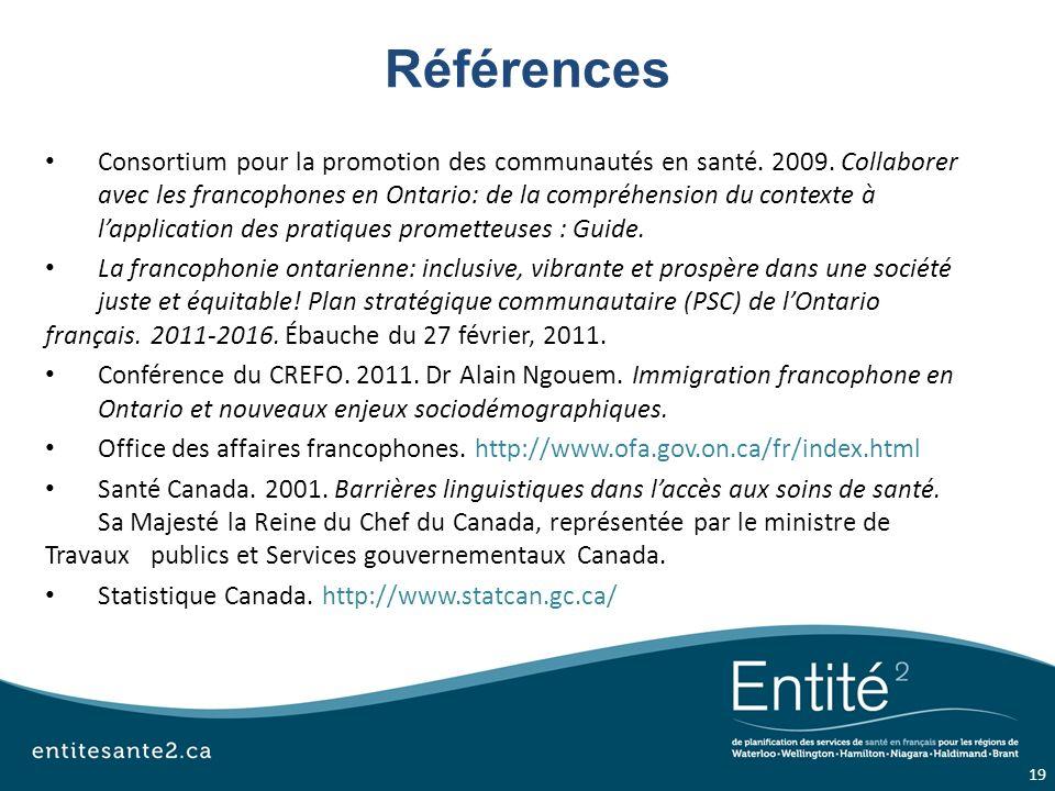 Références Consortium pour la promotion des communautés en santé.