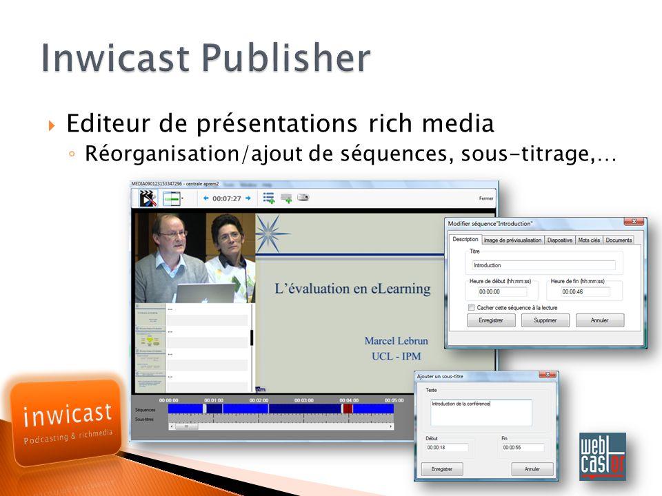 Editeur de présentations rich media Réorganisation/ajout de séquences, sous-titrage,…