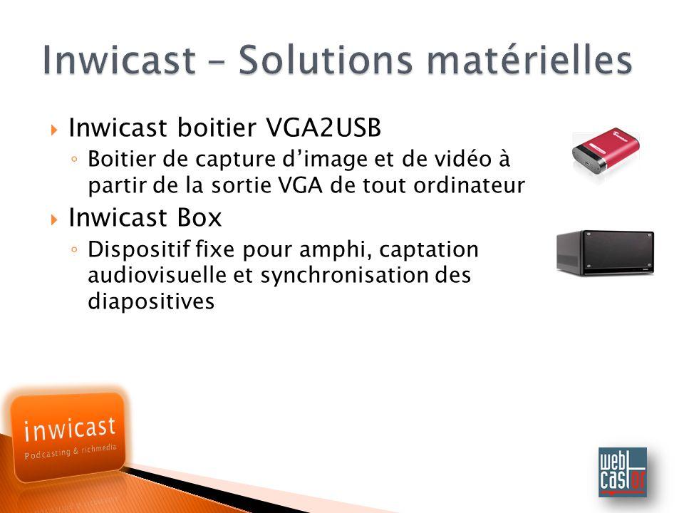 Inwicast boitier VGA2USB Boitier de capture dimage et de vidéo à partir de la sortie VGA de tout ordinateur Inwicast Box Dispositif fixe pour amphi, captation audiovisuelle et synchronisation des diapositives