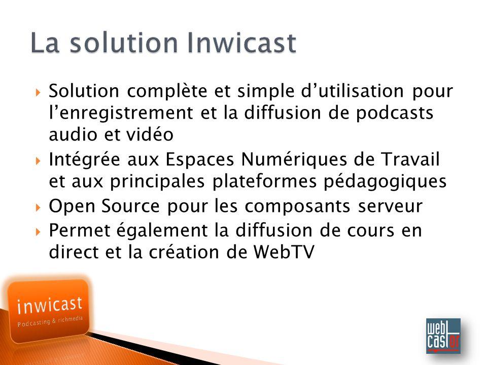 Solution complète et simple dutilisation pour lenregistrement et la diffusion de podcasts audio et vidéo Intégrée aux Espaces Numériques de Travail et aux principales plateformes pédagogiques Open Source pour les composants serveur Permet également la diffusion de cours en direct et la création de WebTV