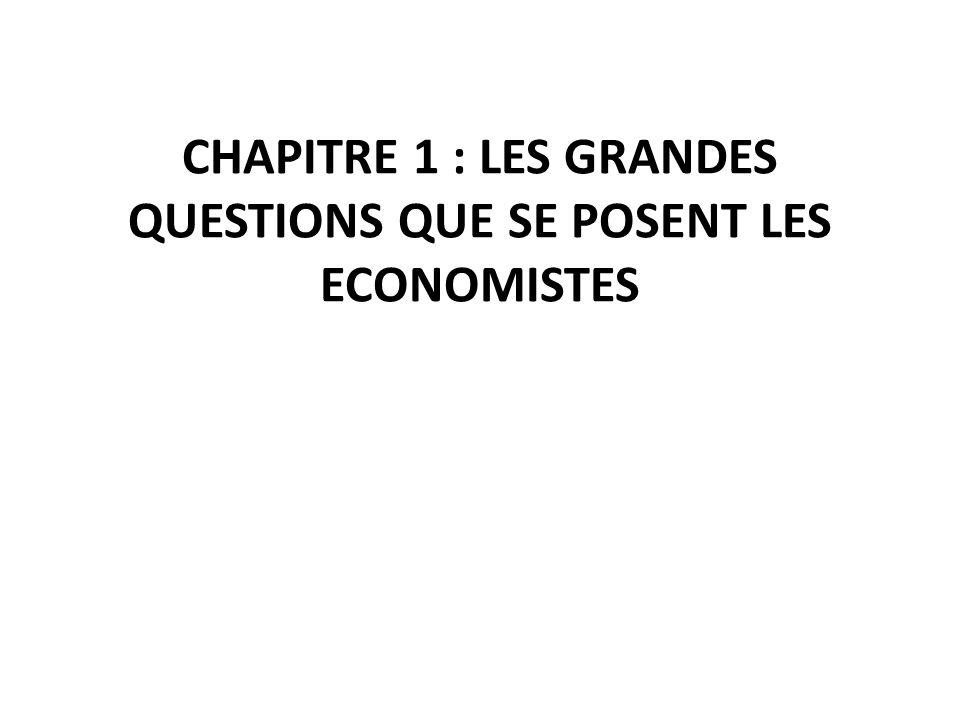 CHAPITRE 1 : LES GRANDES QUESTIONS QUE SE POSENT LES ECONOMISTES