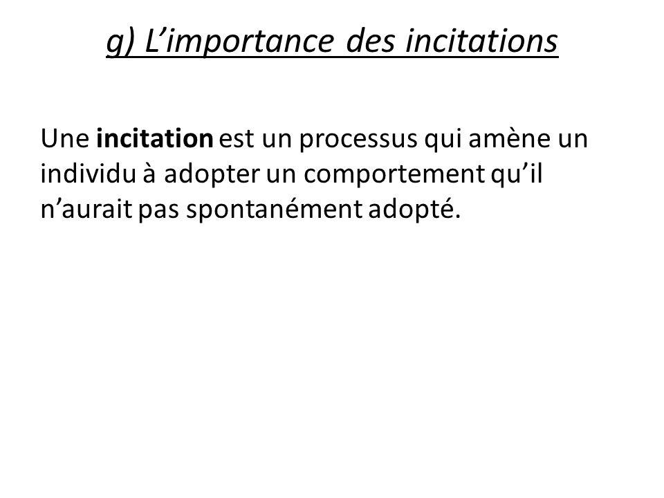 g) Limportance des incitations Une incitation est un processus qui amène un individu à adopter un comportement quil naurait pas spontanément adopté.