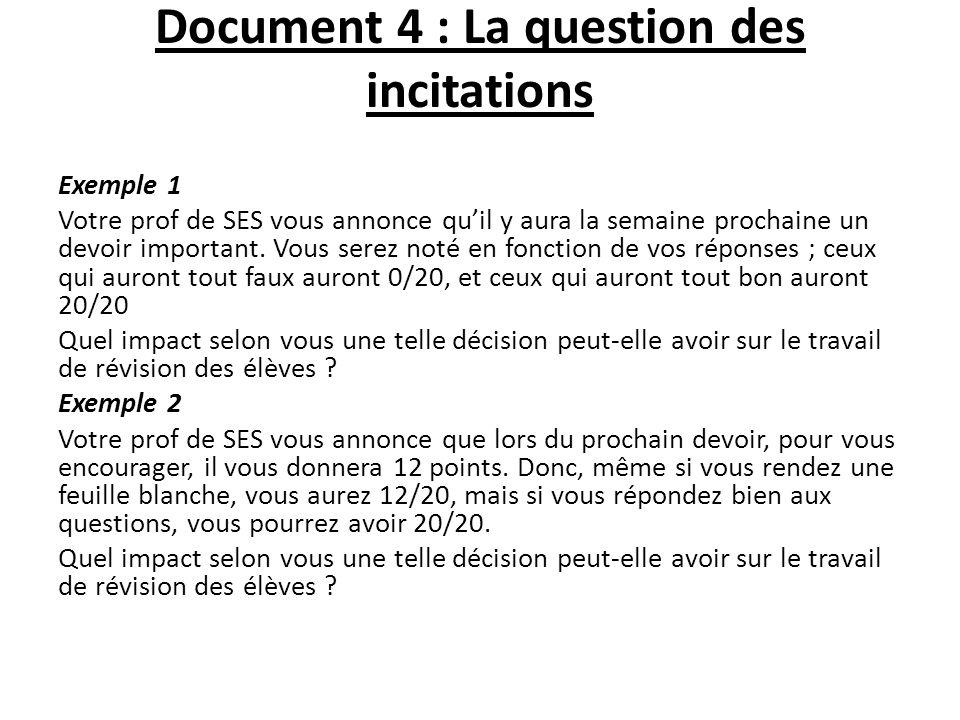 Document 4 : La question des incitations Exemple 1 Votre prof de SES vous annonce quil y aura la semaine prochaine un devoir important. Vous serez not