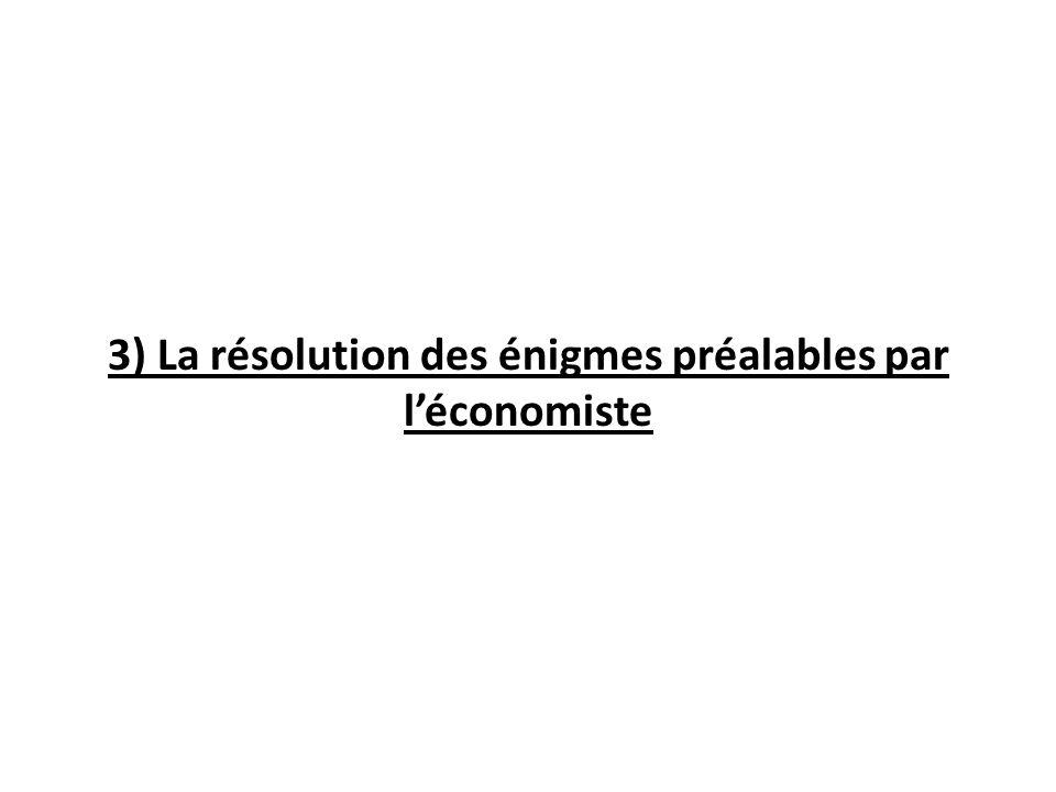 3) La résolution des énigmes préalables par léconomiste