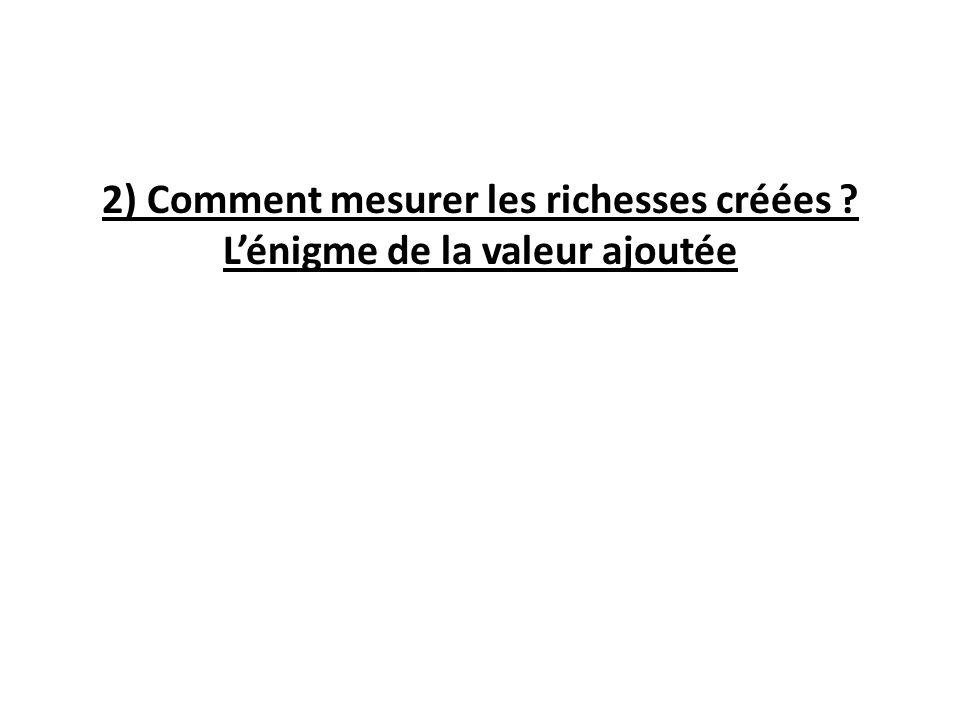 2) Comment mesurer les richesses créées ? Lénigme de la valeur ajoutée