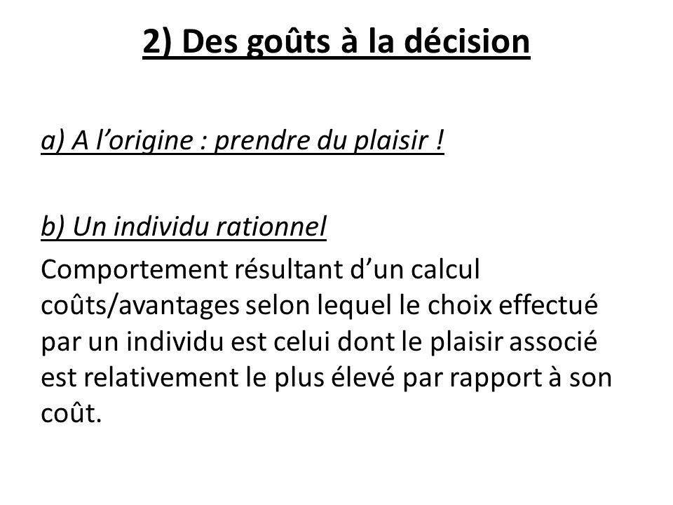 2) Des goûts à la décision a) A lorigine : prendre du plaisir ! b) Un individu rationnel Comportement résultant dun calcul coûts/avantages selon leque