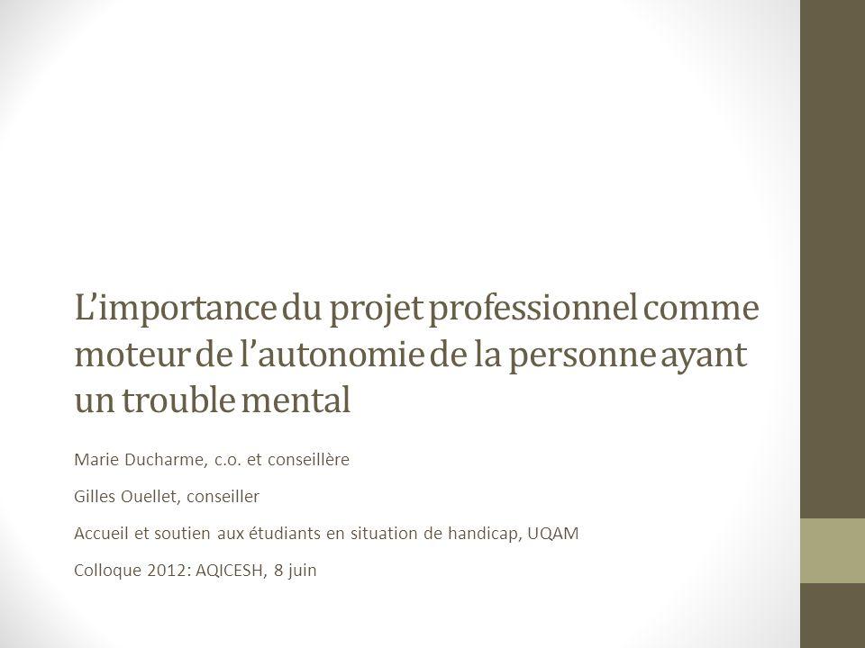 Des constats sur linsertion professionnelle Le taux de chômage chez les personnes ayant une maladie mentale sérieuse sélève entre 70 % et 90 %, même si la plupart désirent travailler.