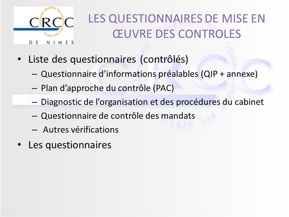 LES QUESTIONNAIRES DE MISE EN ŒUVRE DES CONTROLES Liste des questionnaires (contrôlés) – Questionnaire dinformations préalables (QIP + annexe) – Plan