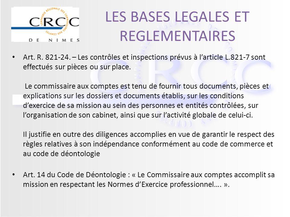 LES BASES LEGALES ET REGLEMENTAIRES Art. R. 821-24. – Les contrôles et inspections prévus à larticle L.821-7 sont effectués sur pièces ou sur place. L