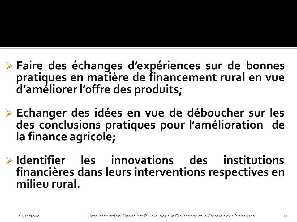 21/11/2010lIntermédiation Financière Rurale pour la Croissance et la Création des Richesses10