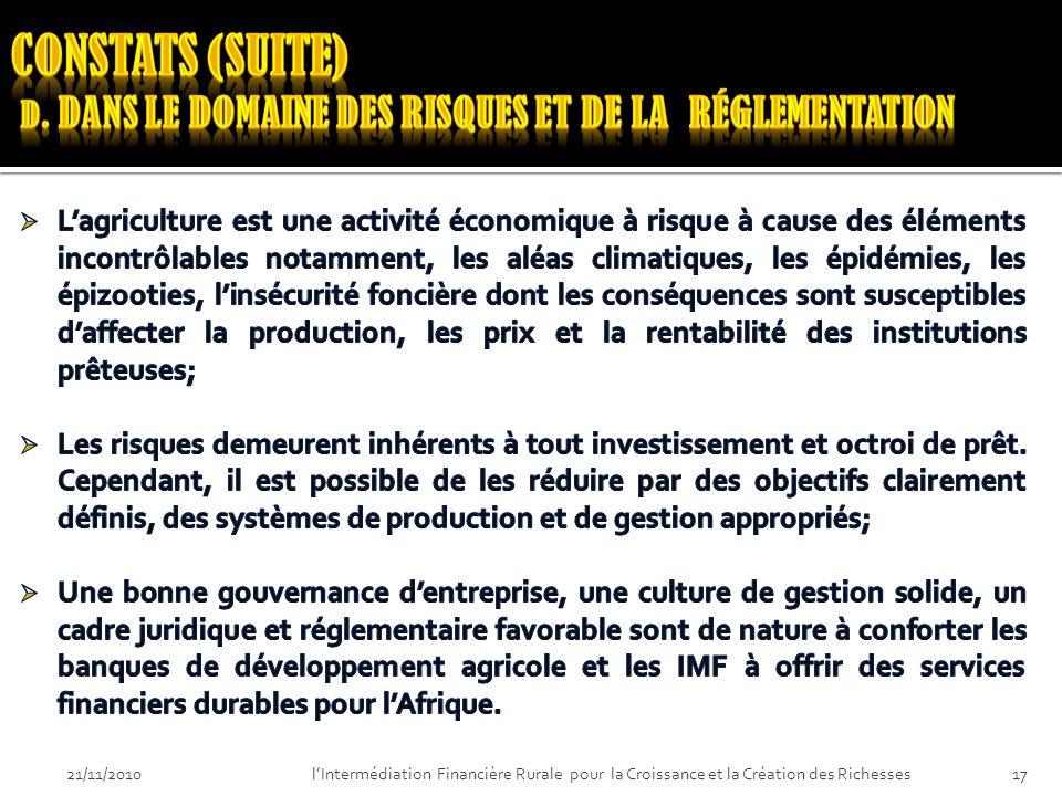 21/11/201016lIntermédiation Financière Rurale pour la Croissance et la Création des Richesses