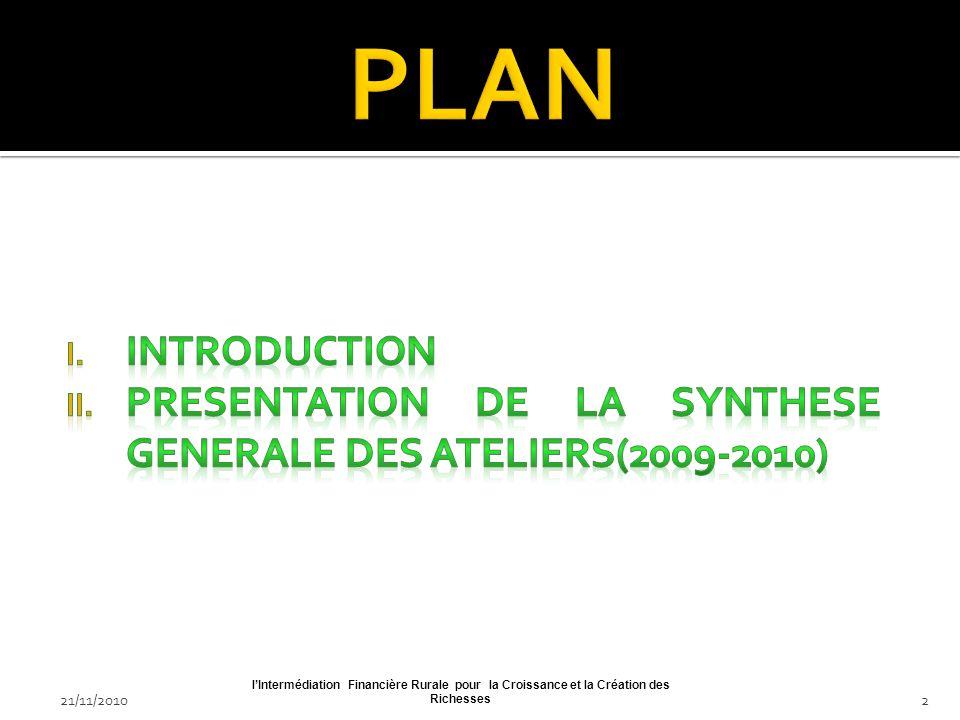 21/11/2010lIntermédiation Financière Rurale pour la Croissance et la Création des Richesses22