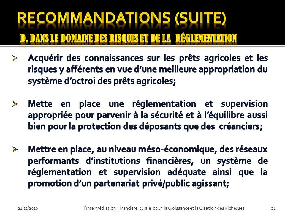 21/11/201023lIntermédiation Financière Rurale pour la Croissance et la Création des Richesses