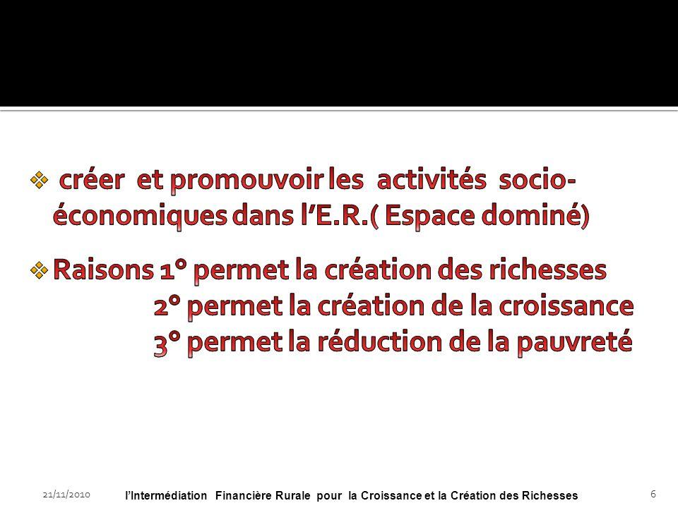 21/11/2010lIntermédiation Financière Rurale pour la Croissance et la Création des Richesses26