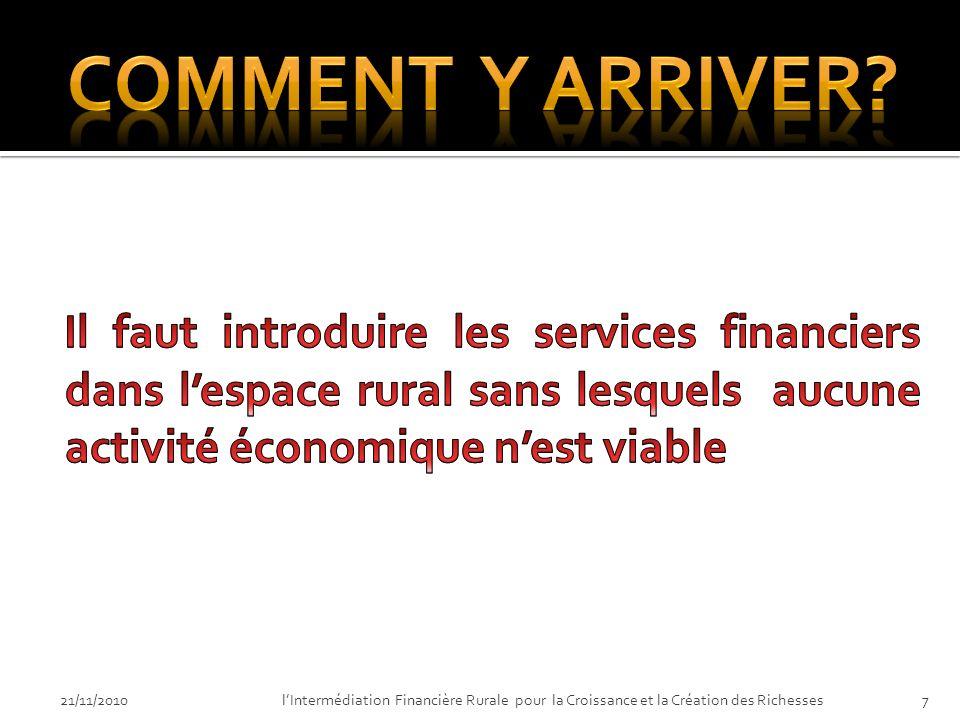 21/11/2010lIntermédiation Financière Rurale pour la Croissance et la Création des Richesses7