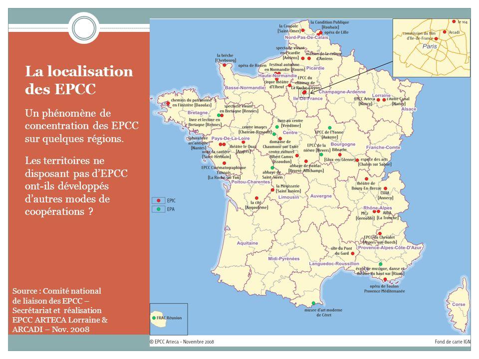 La localisation des EPCC Un phénomène de concentration des EPCC sur quelques régions. Les territoires ne disposant pas dEPCC ont-ils développés dautre