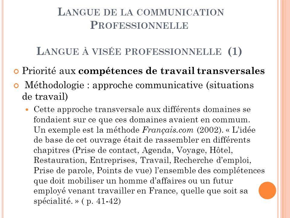 L ANGUE DE LA COMMUNICATION P ROFESSIONNELLE L ANGUE À VISÉE PROFESSIONNELLE (1) Priorité aux compétences de travail transversales Méthodologie : appr