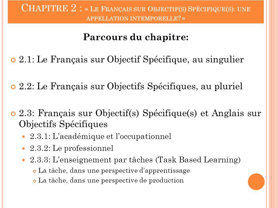 C HAPITRE 2 : « L E F RANÇAIS SUR O BJECTIF ( S ) S PÉCIFIQUE ( S ): UNE APPELLATION INTEMPORELLE ? » Parcours du chapitre: 2.1: Le Français sur Objec