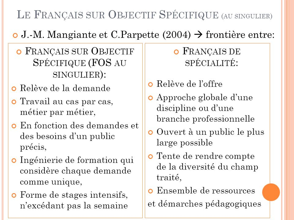 J.-M. Mangiante et C.Parpette (2004) frontière entre: F RANÇAIS SUR O BJECTIF S PÉCIFIQUE (FOS AU SINGULIER ): Relève de la demande Travail au cas par