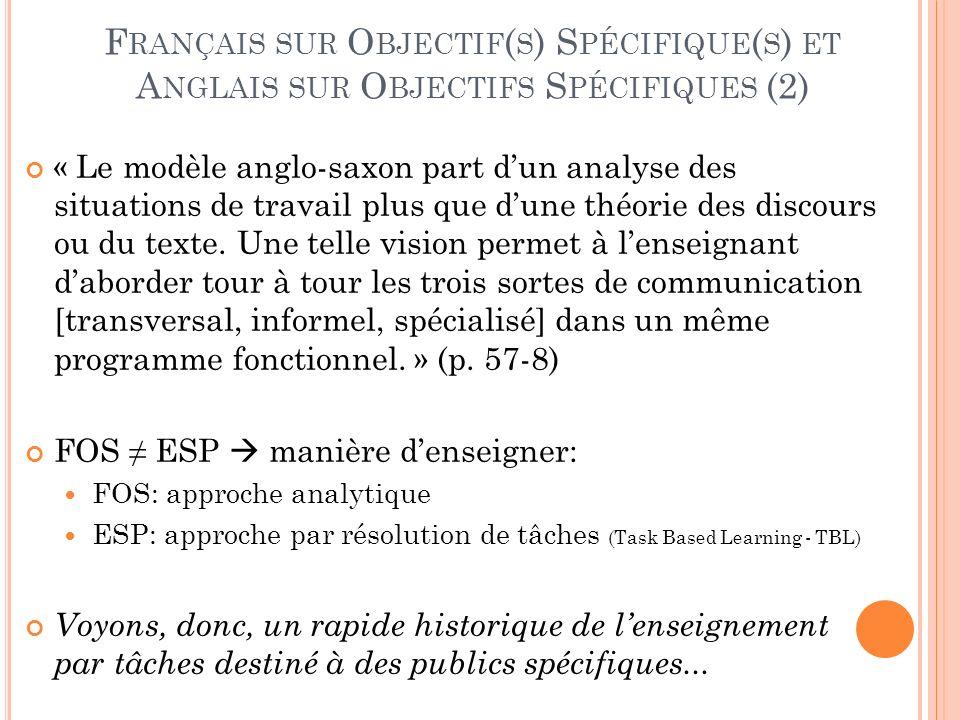 F RANÇAIS SUR O BJECTIF ( S ) S PÉCIFIQUE ( S ) ET A NGLAIS SUR O BJECTIFS S PÉCIFIQUES (2) « Le modèle anglo-saxon part dun analyse des situations de