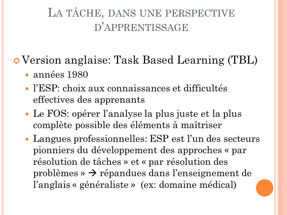 L A TÂCHE, DANS UNE PERSPECTIVE D APPRENTISSAGE Version anglaise: Task Based Learning (TBL) années 1980 lESP: choix aux connaissances et difficultés e
