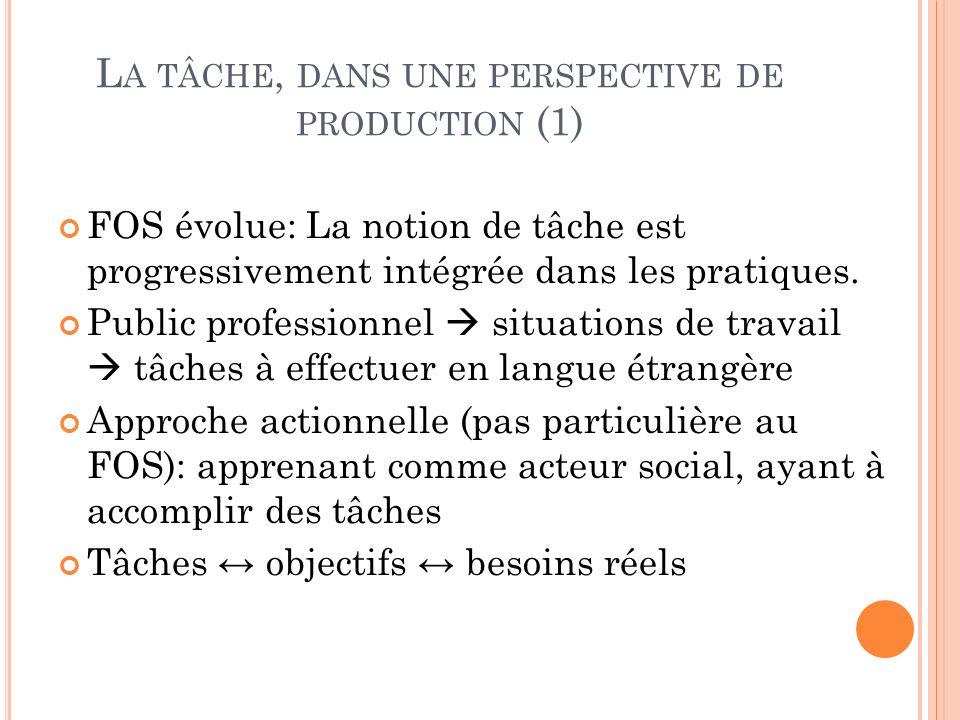L A TÂCHE, DANS UNE PERSPECTIVE DE PRODUCTION (1) FOS évolue: La notion de tâche est progressivement intégrée dans les pratiques. Public professionnel