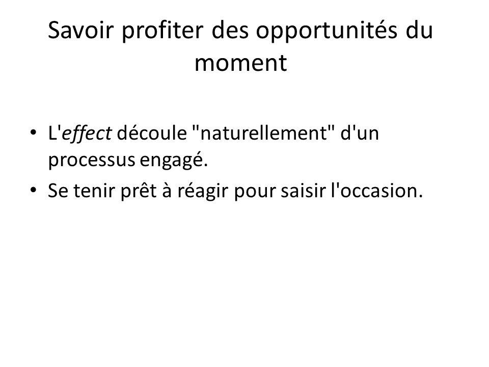 Savoir profiter des opportunités du moment L'effect découle